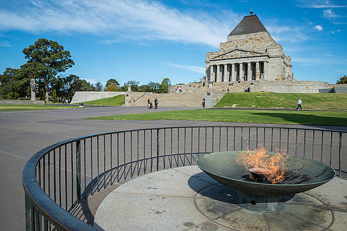 ewige Flame am Shrine of Remembrance in Melbourne (Victoria)